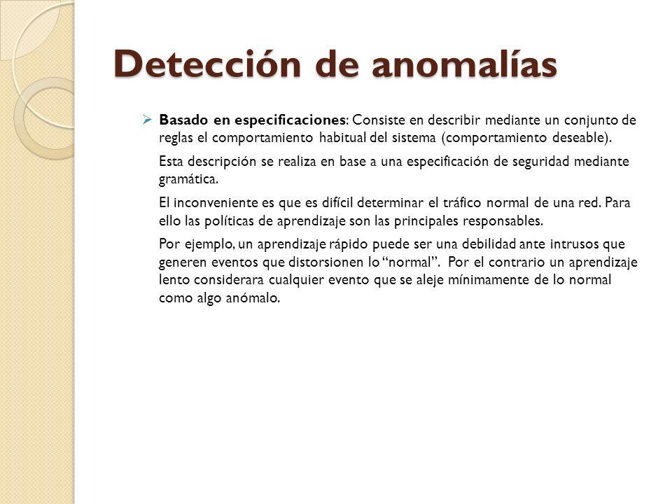Detección de anomalías Basado en especificaciones: Consiste en describir mediante un conjunto de reglas el comportamiento habitual del sistema (compor