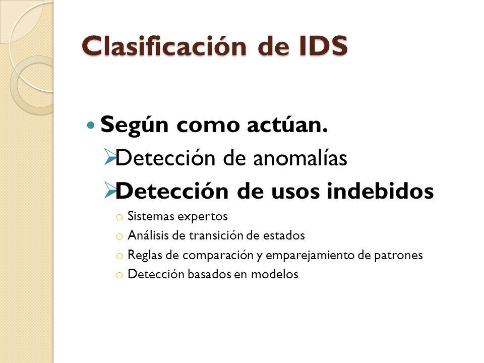 Clasificación de IDS Según como actúan. Detección de anomalías Detección de usos indebidos o Sistemas expertos o Análisis de transición de estados o R