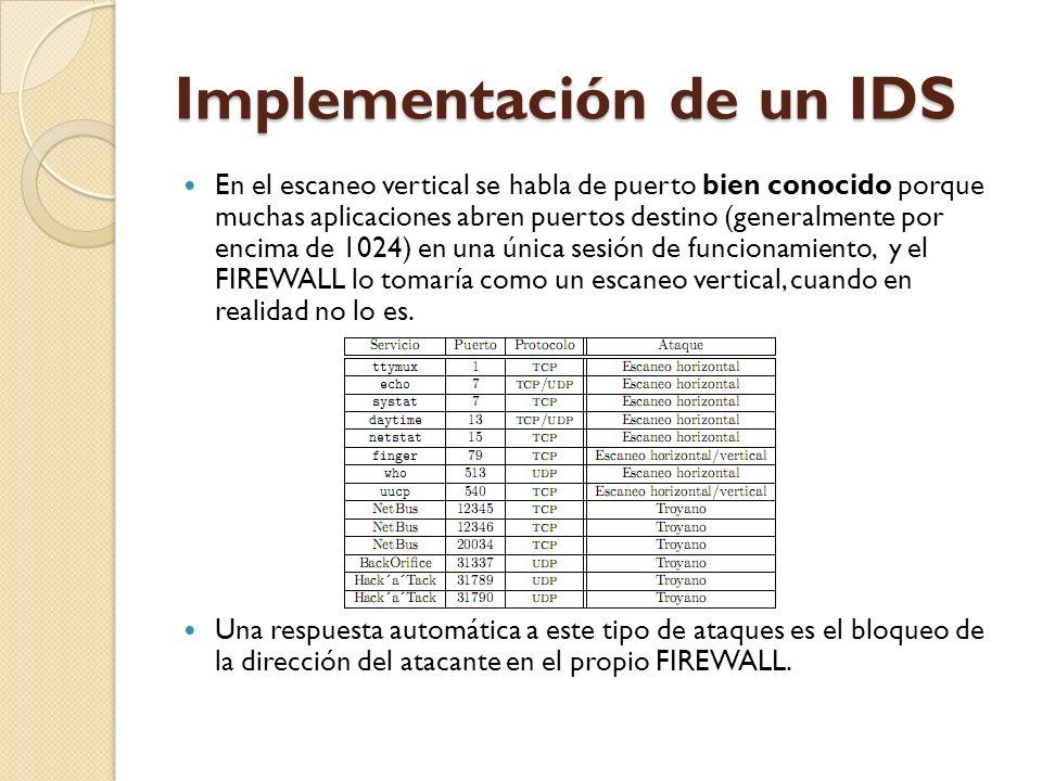 Implementación de un IDS En el escaneo vertical se habla de puerto bien conocido porque muchas aplicaciones abren puertos destino (generalmente por en