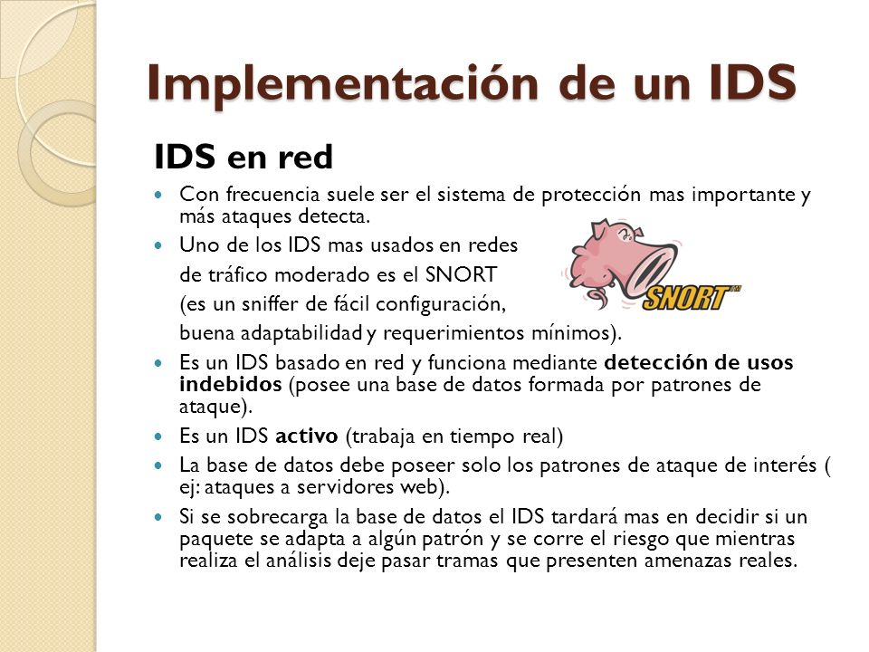 Implementación de un IDS IDS en red Con frecuencia suele ser el sistema de protección mas importante y más ataques detecta. Uno de los IDS mas usados