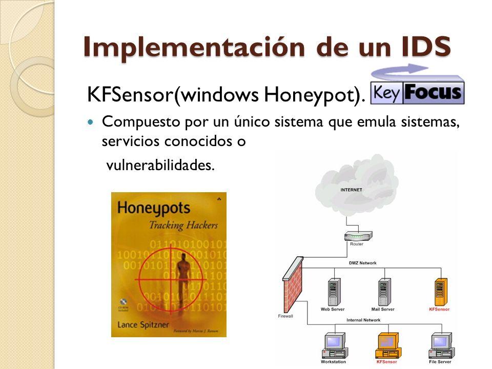 Implementación de un IDS KFSensor(windows Honeypot). Compuesto por un único sistema que emula sistemas, servicios conocidos o vulnerabilidades.