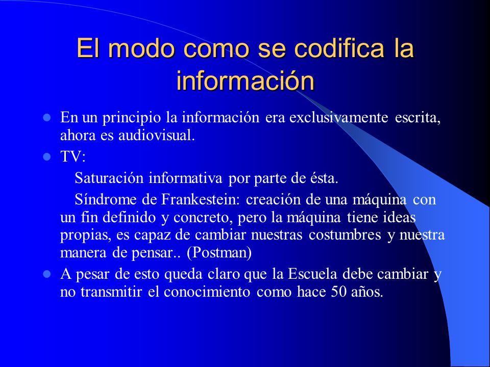 El modo como se codifica la información En un principio la información era exclusivamente escrita, ahora es audiovisual. TV: Saturación informativa po