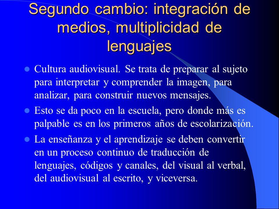 Segundo cambio: integración de medios, multiplicidad de lenguajes Cultura audiovisual. Se trata de preparar al sujeto para interpretar y comprender la