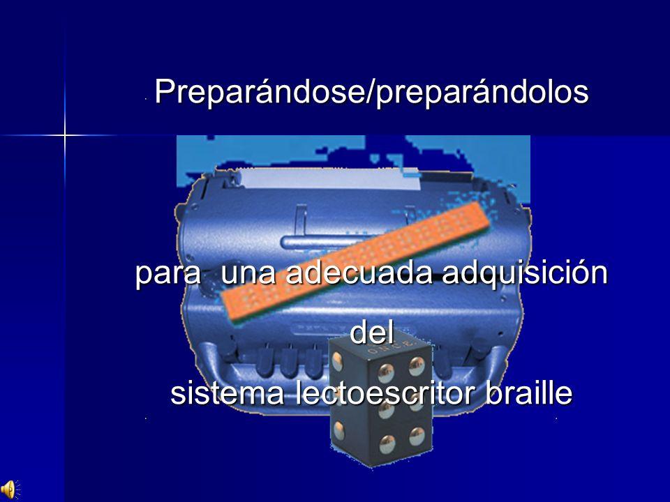 Preparándose/preparándolos para una adecuada adquisición del sistema lectoescritor braille