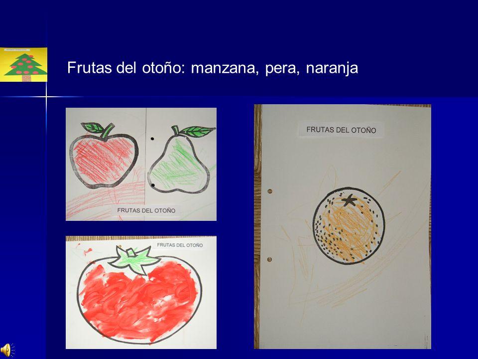 Frutas del otoño: manzana, pera, naranja