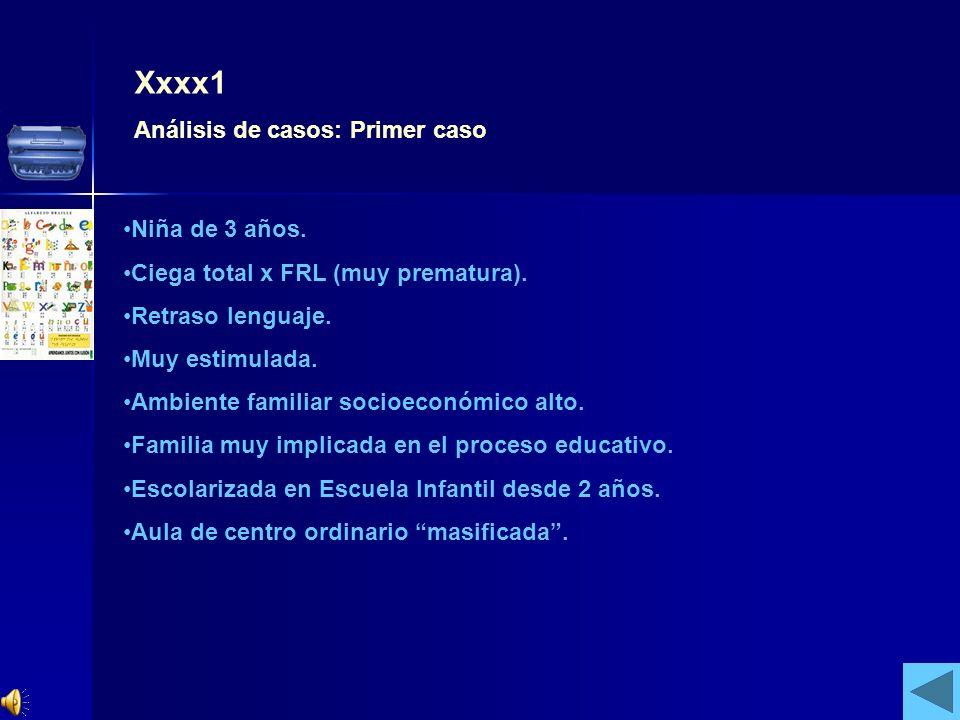 Xxxx1 Análisis de casos: Primer caso Niña de 3 años. Ciega total x FRL (muy prematura). Retraso lenguaje. Muy estimulada. Ambiente familiar socioeconó