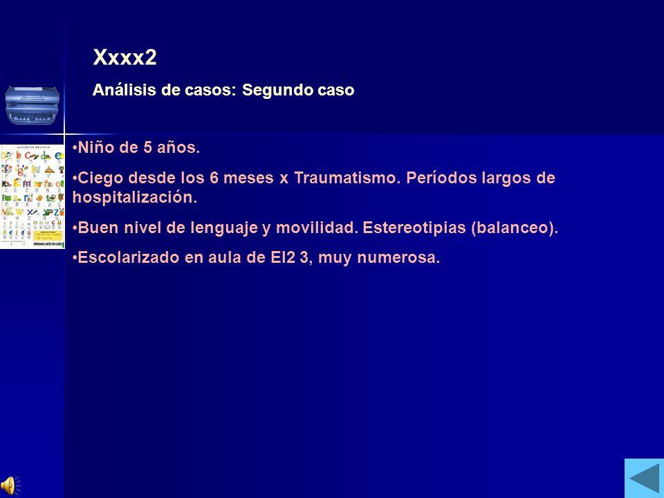 Xxxx2 Análisis de casos: Segundo caso Niño de 5 años. Ciego desde los 6 meses x Traumatismo. Períodos largos de hospitalización. Buen nivel de lenguaj