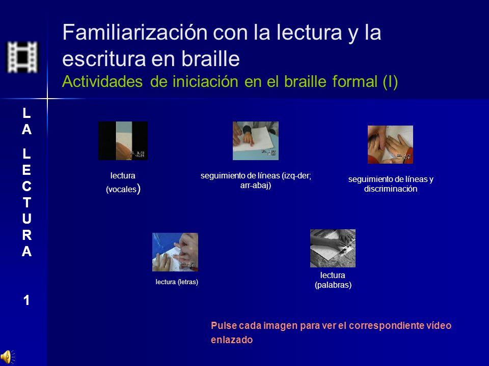 Familiarización con la lectura y la escritura en braille Actividades de iniciación en el braille formal (I) Pulse cada imagen para ver el correspondie