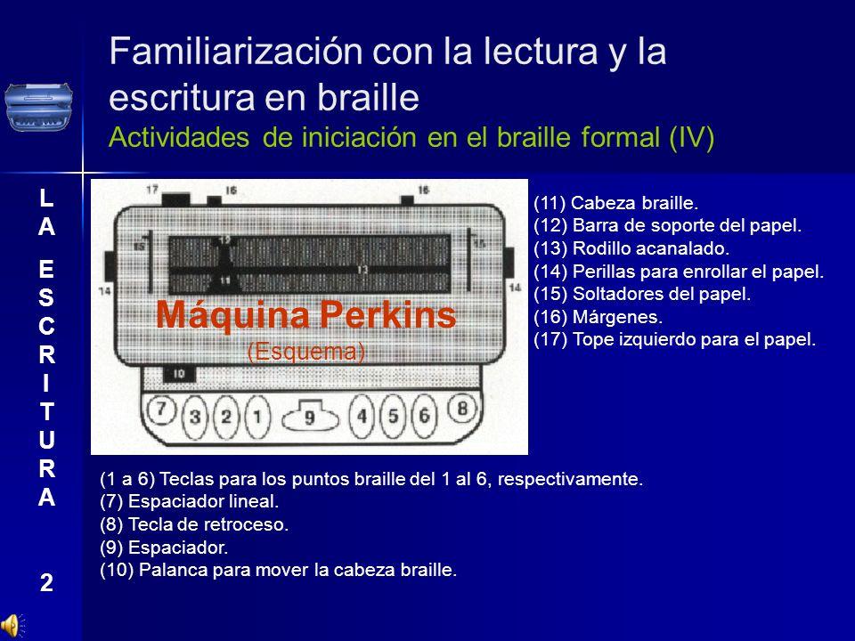Familiarización con la lectura y la escritura en braille Actividades de iniciación en el braille formal (IV) LAESCRITURA2LAESCRITURA2 (11) Cabeza brai
