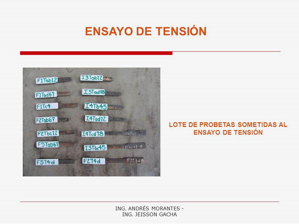 ING. ANDRÉS MORANTES - ING. JEISSON GACHA ENSAYO DE TENSIÓN RESULTADOS OBTENIDOS