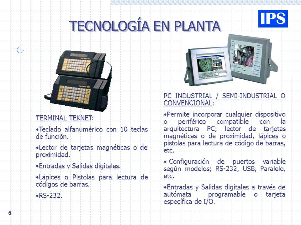 5 TECNOLOGÍA EN PLANTA TERMINAL TEKNET: Teclado alfanumérico con 10 teclas de función.Teclado alfanumérico con 10 teclas de función.