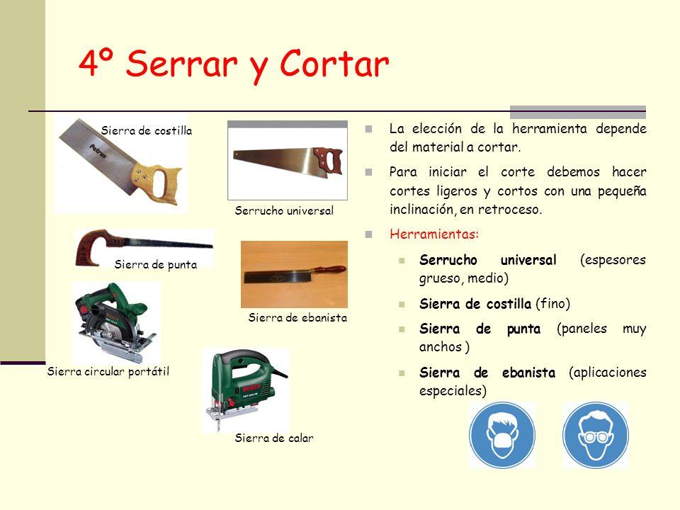 4º Serrar y Cortar La elección de la herramienta depende del material a cortar. Para iniciar el corte debemos hacer cortes ligeros y cortos con una pe