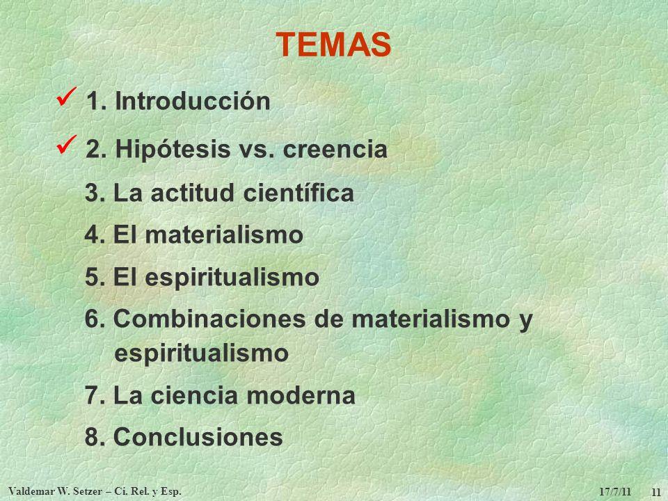17/7/11 Valdemar W. Setzer – Ci. Rel. y Esp. 11 TEMAS 1. Introducción 2. Hipótesis vs. creencia 3. La actitud científica 4. El materialismo 5. El espi