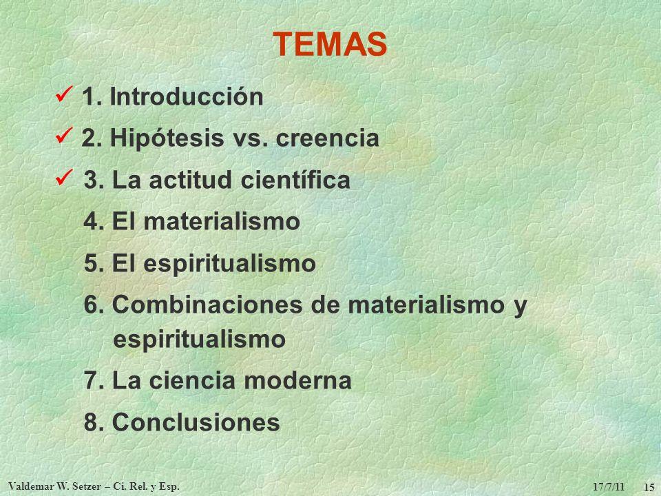 17/7/11 Valdemar W. Setzer – Ci. Rel. y Esp. 15 TEMAS 1. Introducción 2. Hipótesis vs. creencia 3. La actitud científica 4. El materialismo 5. El espi