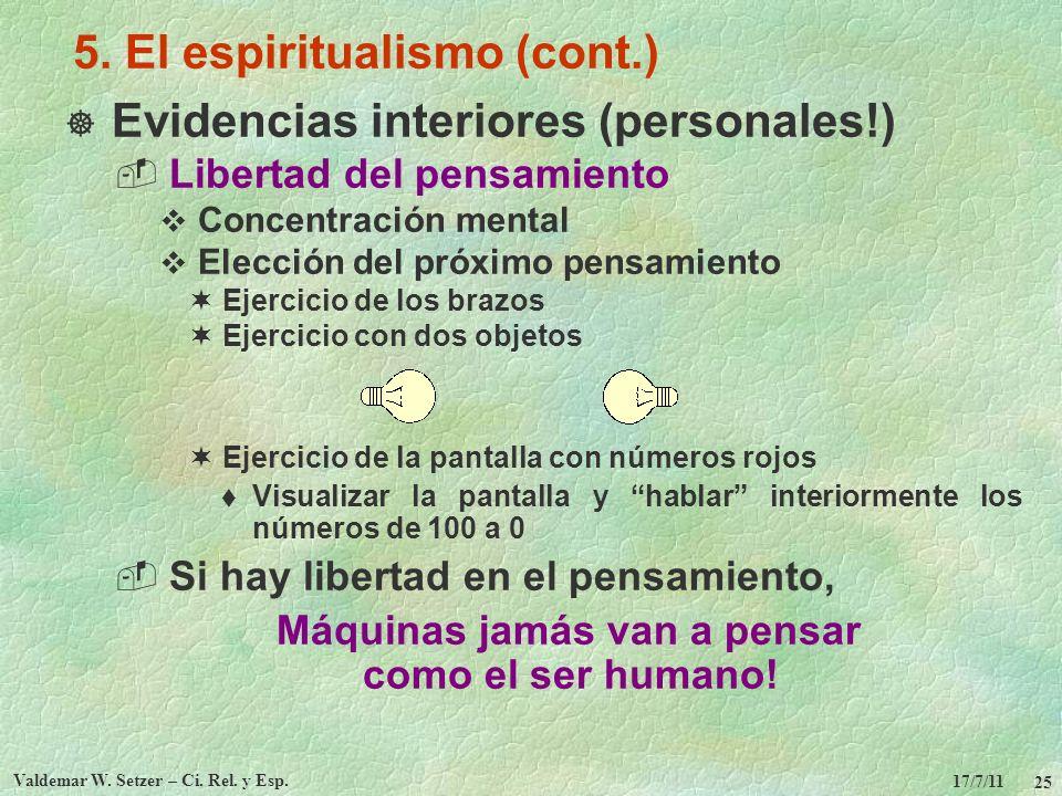 17/7/11 Valdemar W. Setzer – Ci. Rel. y Esp. 25 5. El espiritualismo (cont.) Evidencias interiores (personales!) Libertad del pensamiento Concentració