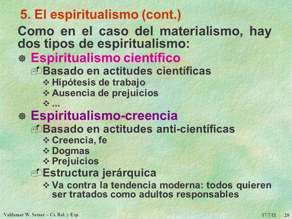 17/7/11 Valdemar W. Setzer – Ci. Rel. y Esp. 29 5. El espiritualismo (cont.) Como en el caso del materialismo, hay dos tipos de espiritualismo: Espiri