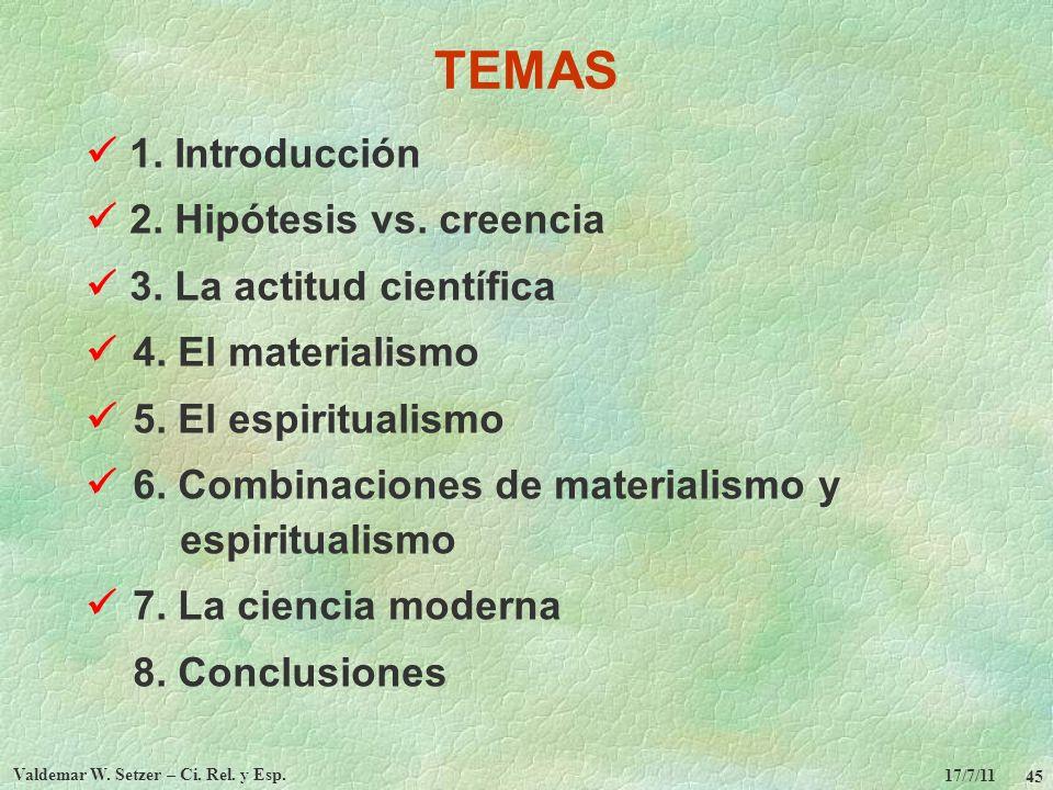 17/7/11 Valdemar W. Setzer – Ci. Rel. y Esp. 45 TEMAS 1. Introducción 2. Hipótesis vs. creencia 3. La actitud científica 4. El materialismo 5. El espi
