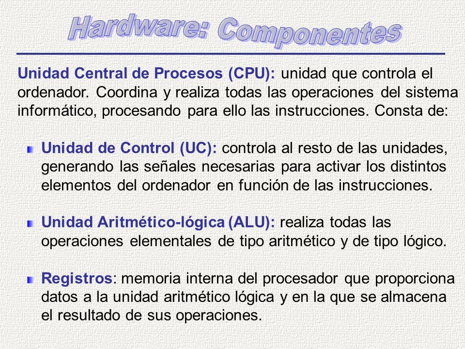 Unidad Central de Procesos (CPU): unidad que controla el ordenador. Coordina y realiza todas las operaciones del sistema informático, procesando para
