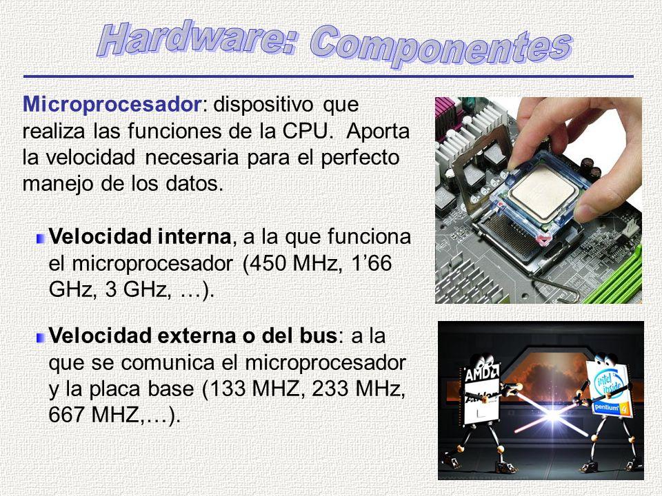 Microprocesador: dispositivo que realiza las funciones de la CPU. Aporta la velocidad necesaria para el perfecto manejo de los datos. Velocidad intern