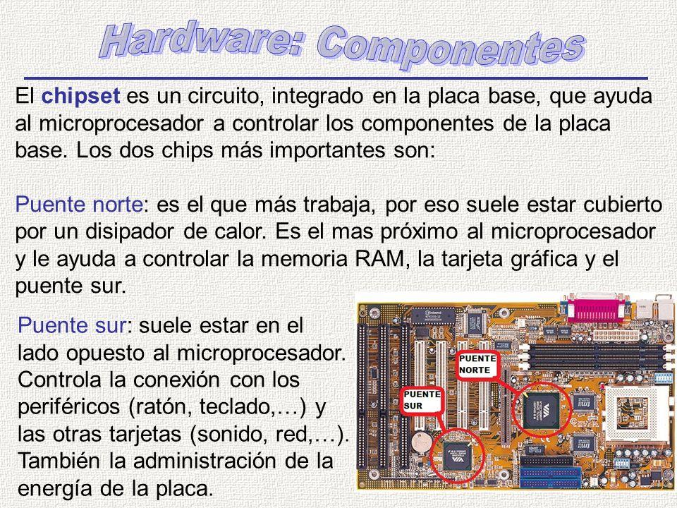 El chipset es un circuito, integrado en la placa base, que ayuda al microprocesador a controlar los componentes de la placa base. Los dos chips más im
