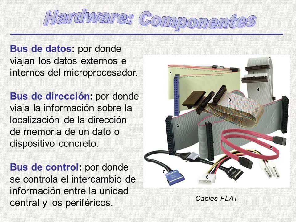 Bus de datos: por donde viajan los datos externos e internos del microprocesador. Bus de dirección: por donde viaja la información sobre la localizaci