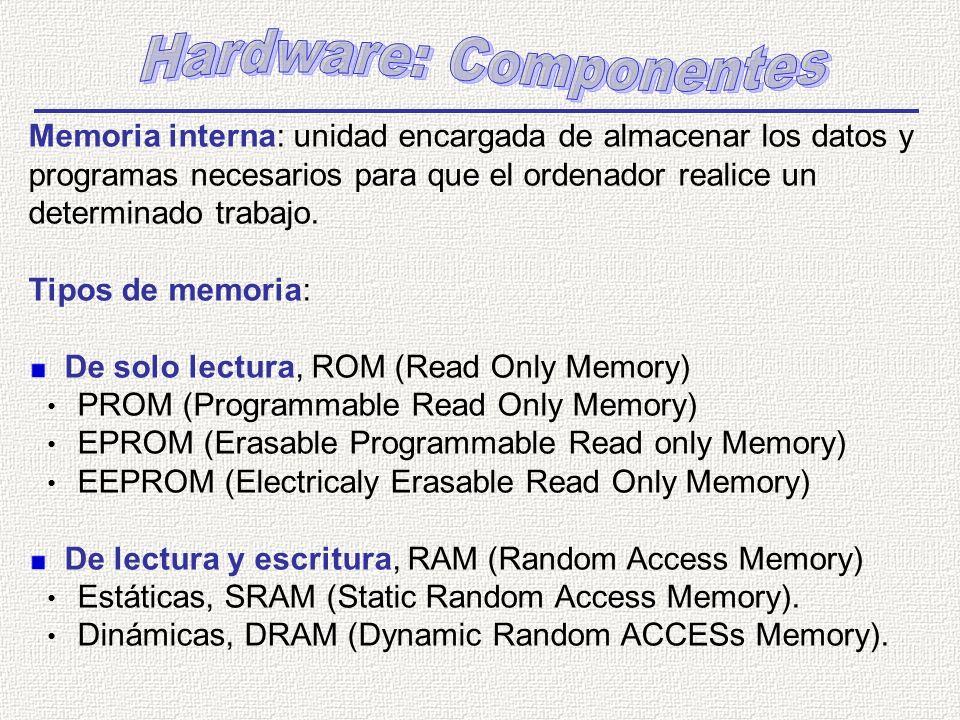 Memoria interna: unidad encargada de almacenar los datos y programas necesarios para que el ordenador realice un determinado trabajo. Tipos de memoria