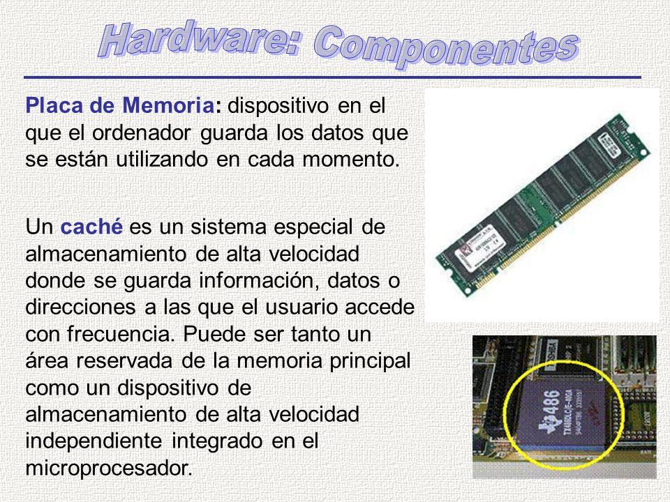 Placa de Memoria: dispositivo en el que el ordenador guarda los datos que se están utilizando en cada momento. Un caché es un sistema especial de alma