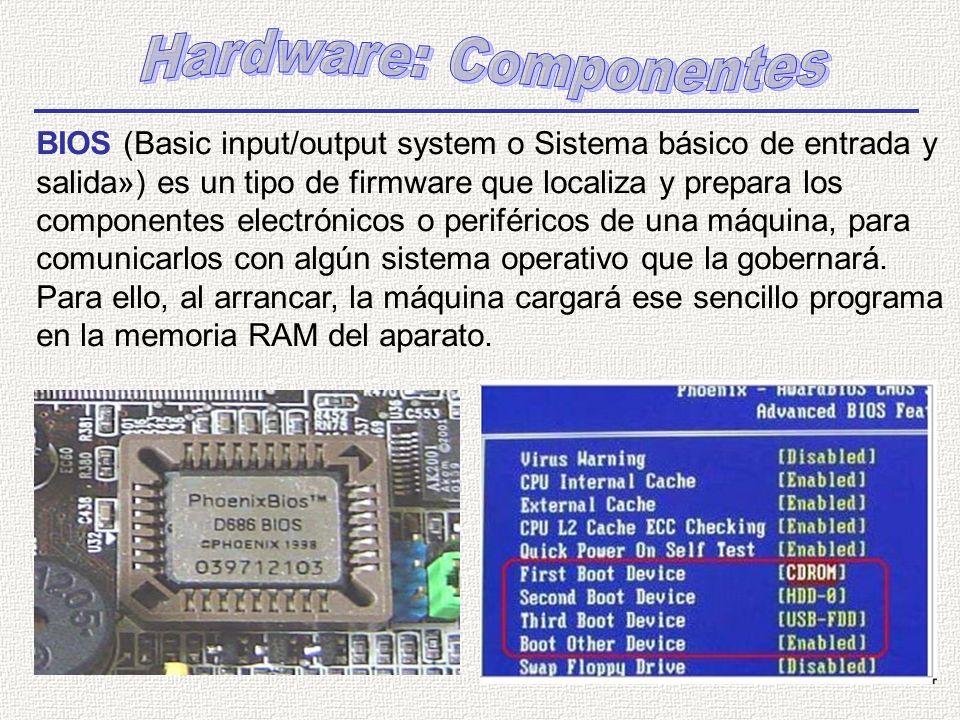 BIOS (Basic input/output system o Sistema básico de entrada y salida») es un tipo de firmware que localiza y prepara los componentes electrónicos o pe