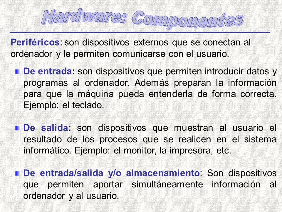 Periféricos: son dispositivos externos que se conectan al ordenador y le permiten comunicarse con el usuario. De entrada: son dispositivos que permite