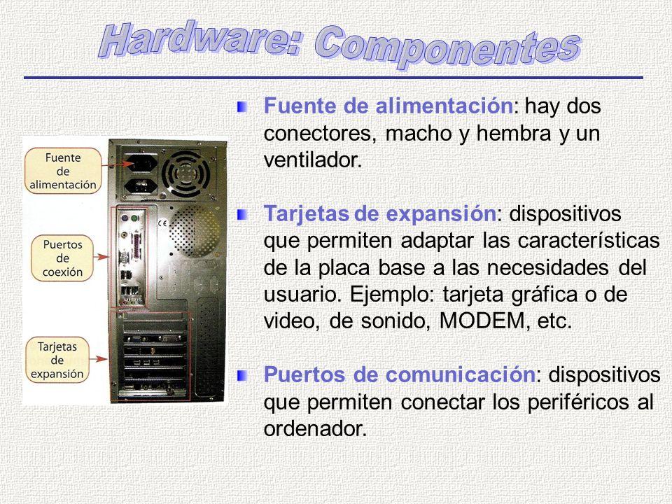 Fuente de alimentación: hay dos conectores, macho y hembra y un ventilador. Tarjetas de expansión: dispositivos que permiten adaptar las característic