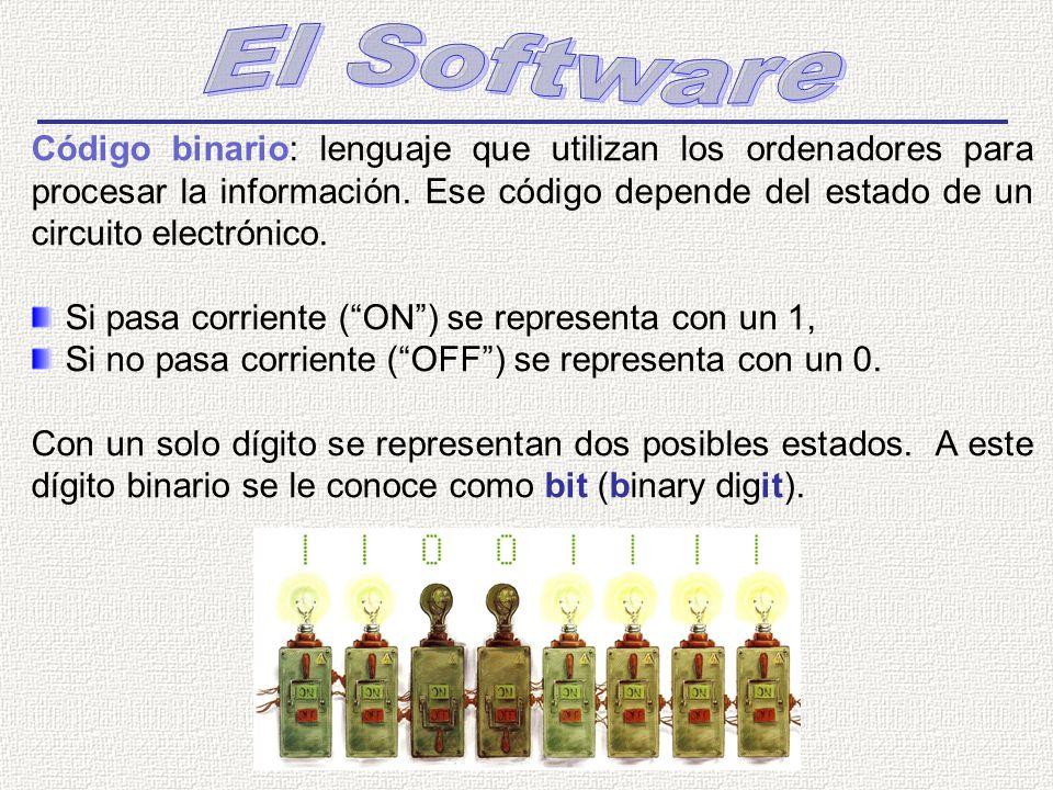Código binario: lenguaje que utilizan los ordenadores para procesar la información. Ese código depende del estado de un circuito electrónico. Si pasa