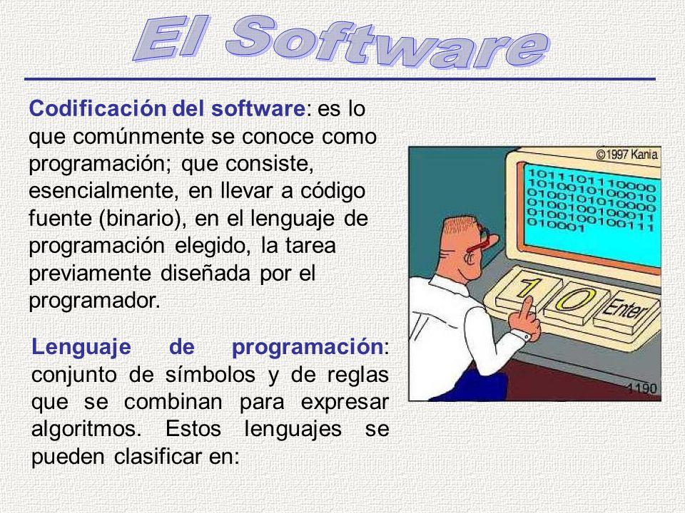 Lenguaje de programación: conjunto de símbolos y de reglas que se combinan para expresar algoritmos. Estos lenguajes se pueden clasificar en: Codifica