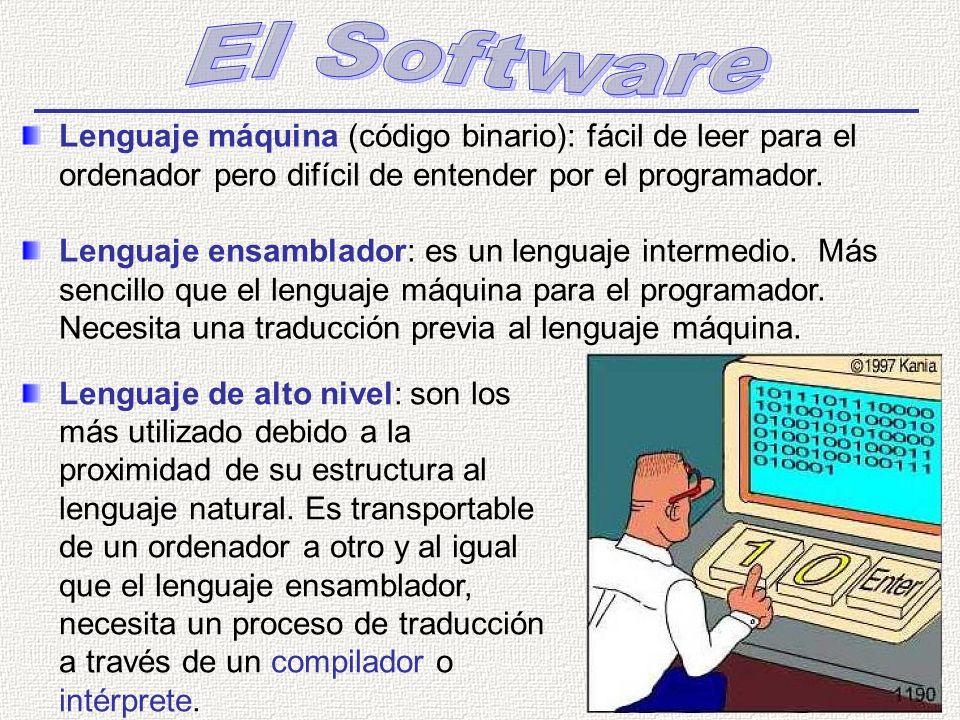 Lenguaje máquina (código binario): fácil de leer para el ordenador pero difícil de entender por el programador. Lenguaje ensamblador: es un lenguaje i