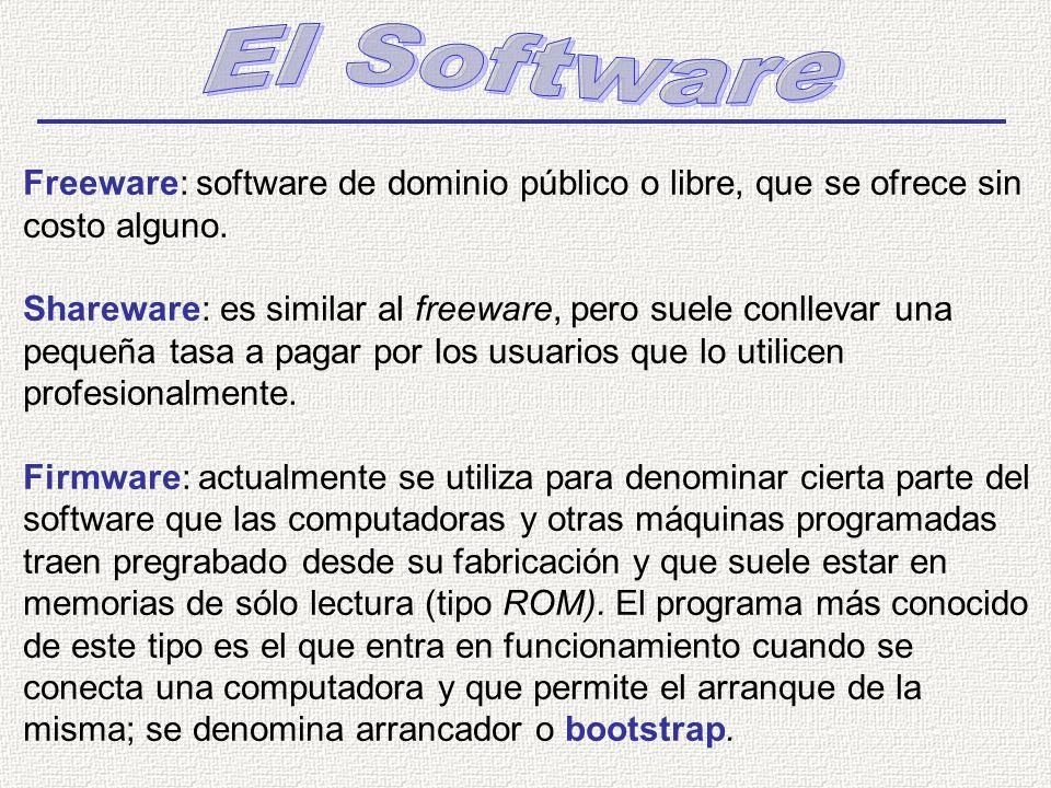 Freeware: software de dominio público o libre, que se ofrece sin costo alguno. Shareware: es similar al freeware, pero suele conllevar una pequeña tas