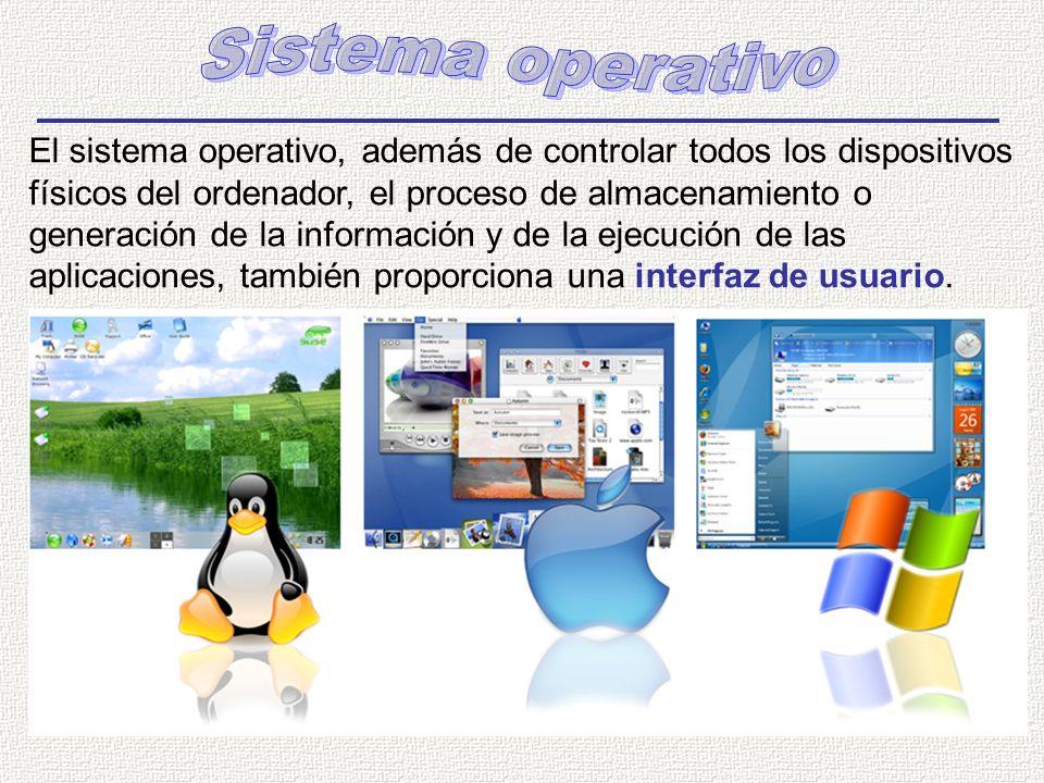 El sistema operativo, además de controlar todos los dispositivos físicos del ordenador, el proceso de almacenamiento o generación de la información y