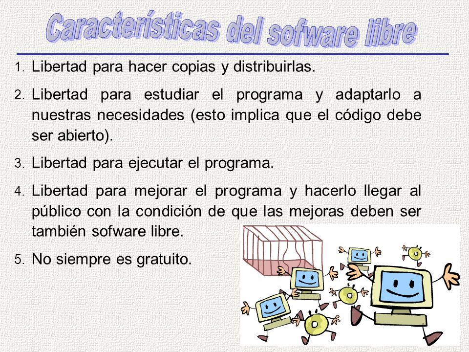 1. Libertad para hacer copias y distribuirlas. 2. Libertad para estudiar el programa y adaptarlo a nuestras necesidades (esto implica que el código de