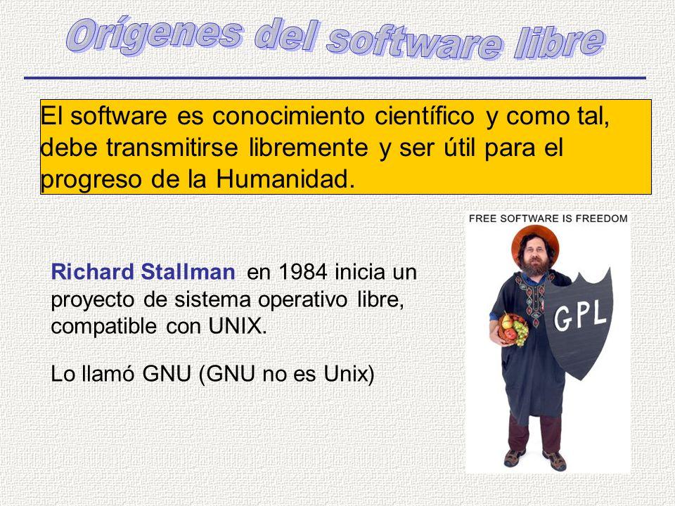 Richard Stallman en 1984 inicia un proyecto de sistema operativo libre, compatible con UNIX. Lo llamó GNU (GNU no es Unix) El software es conocimiento