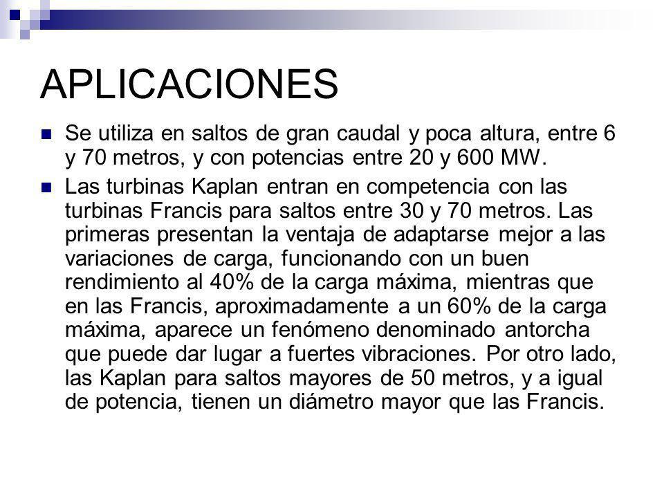APLICACIONES Se utiliza en saltos de gran caudal y poca altura, entre 6 y 70 metros, y con potencias entre 20 y 600 MW. Las turbinas Kaplan entran en