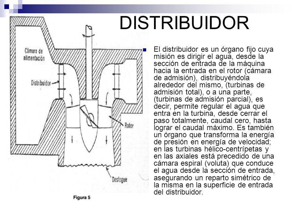 El distribuidor es un órgano fijo cuya misión es dirigir el agua, desde la sección de entrada de la máquina hacia la entrada en el rotor (cámara de ad