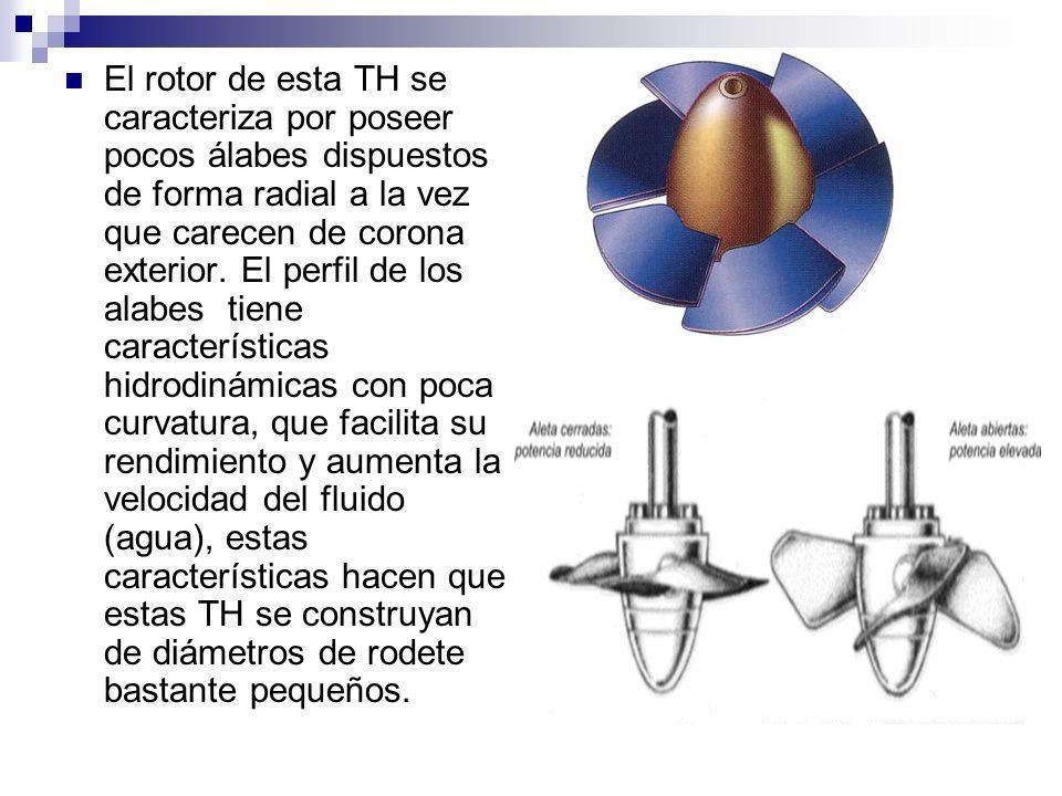 El rotor de esta TH se caracteriza por poseer pocos álabes dispuestos de forma radial a la vez que carecen de corona exterior. El perfil de los alabes