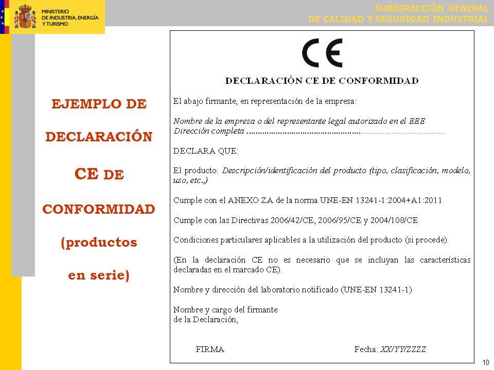 SUBDIRECCIÓN GENERAL DE CALIDAD Y SEGURIDAD INDUSTRIAL 10 EJEMPLO DE DECLARACIÓN CE DE CONFORMIDAD (productos en serie)