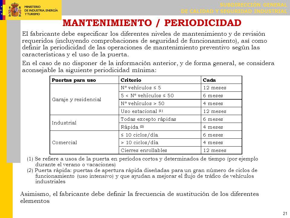 SUBDIRECCIÓN GENERAL DE CALIDAD Y SEGURIDAD INDUSTRIAL 21 MANTENIMIENTO / PERIODICIDAD El fabricante debe especificar los diferentes niveles de manten
