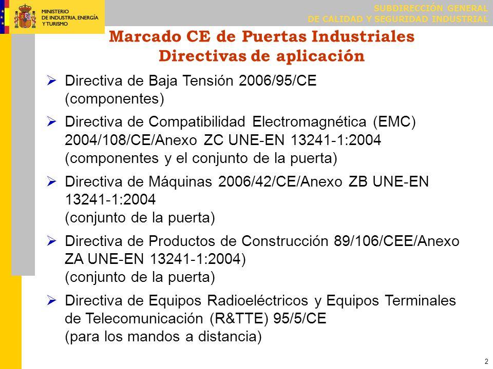 SUBDIRECCIÓN GENERAL DE CALIDAD Y SEGURIDAD INDUSTRIAL 2 Marcado CE de Puertas Industriales Directivas de aplicación Directiva de Baja Tensión 2006/95