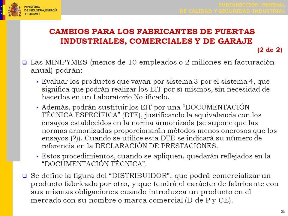 SUBDIRECCIÓN GENERAL DE CALIDAD Y SEGURIDAD INDUSTRIAL 35 CAMBIOS PARA LOS FABRICANTES DE PUERTAS INDUSTRIALES, COMERCIALES Y DE GARAJE (2 de 2) Las M