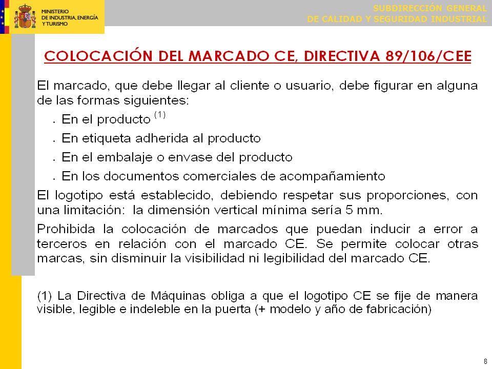 9 MARCADO CE DIRECTIVA 2006/42/CE (MÁQUINAS) Además de tener que poner el marcado CE por la Directiva de productos de construcción, también la Directiva de máquinas, traspuesta por el Real Decreto 1644/2008, según su artículo 1.7.3 y Anexo III, obliga a marcar de forma visible, legible e indeleble, como mínimo, las indicaciones siguientes: Razón social y dirección completa del fabricante o su representante autorizado.