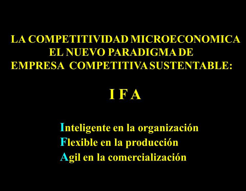 13 LA COMPETITIVIDAD MICROECONOMICA EL NUEVO PARADIGMA DE EMPRESA COMPETITIVA SUSTENTABLE: I F A I nteligente en la organización F lexible en la produ