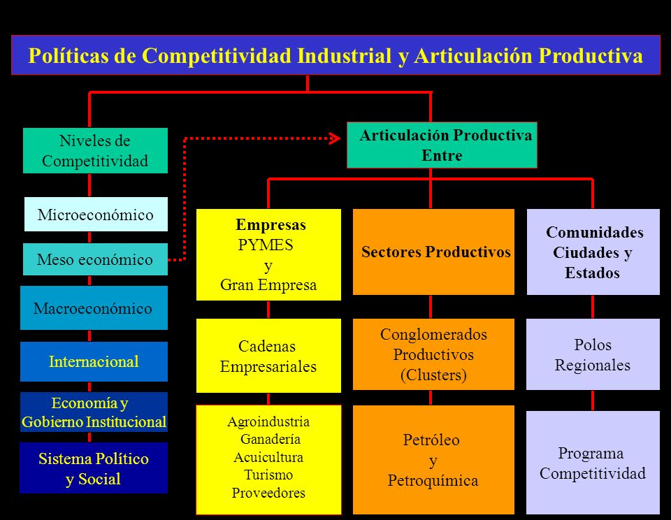 8 Polos Regionales Conglomerados Productivos (Clusters) Articulación Productiva Entre Empresas PYMES y Gran Empresa Sectores Productivos Comunidades Ciudades y Estados Microeconómico Meso económico Macroeconómico Niveles de Competitividad Políticas de Competitividad Industrial y Articulación Productiva Sistema Político y Social Economía y Gobierno Institucional Cadenas Empresariales Internacional Agroindustria Ganadería Acuicultura Turismo Proveedores Petróleo y Petroquímica Programa Competitividad