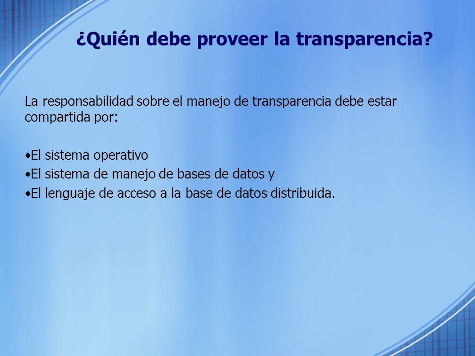 ¿Quién debe proveer la transparencia.