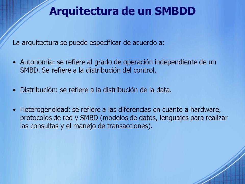 Arquitectura de un SMBDD La arquitectura se puede especificar de acuerdo a: Autonomía: se refiere al grado de operación independiente de un SMBD.
