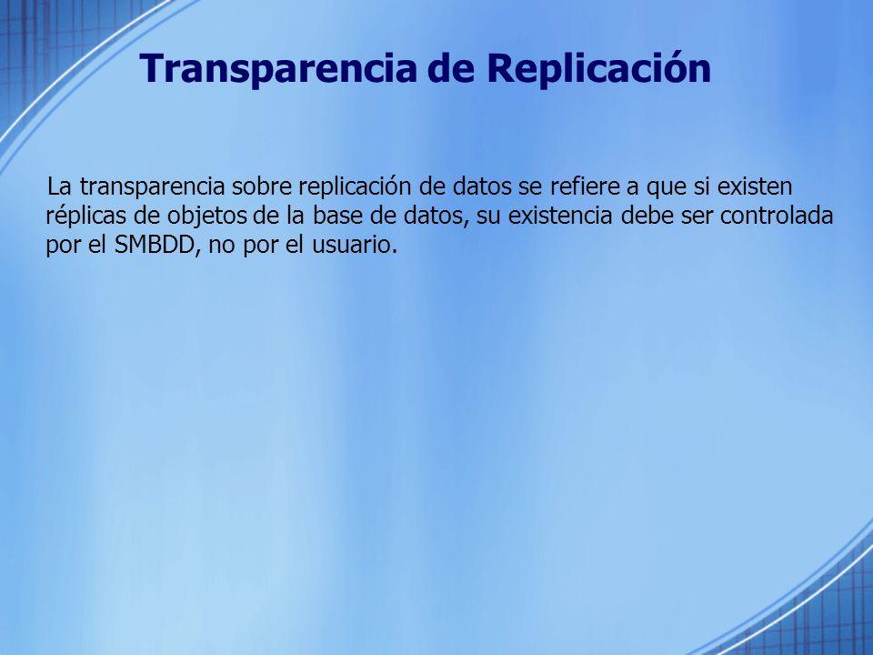 Transparencia de Fragmentación La transparencia a nivel de fragmentación de datos permite: El sistema maneje la conversión de consultas de usuario definidas sobre relaciones globales a consultas definidas sobre fragmentos.